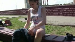 Lovely Russian redhead young babe in sexy tight leggins gets wet in public--_short_preview.mp4