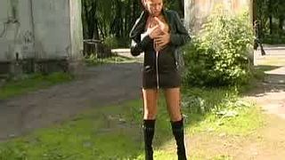 Adorable caramel skin teenie in leather jacket and black dress--_short_preview.mp4