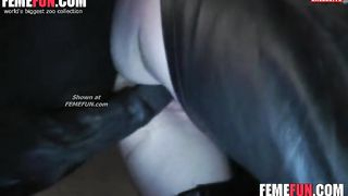 Wife bends over in her crotchless chaps so her endowed mini-horse can fuck her--_short_preview.mp4