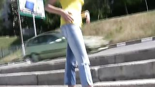 Horny Russian teen cutie pees in her blue jeans in public--_short_preview.mp4