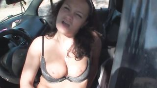 Dirty brunette amateur girlfriend in the car sucking cock--_short_preview.mp4
