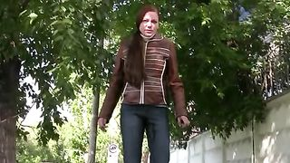 Nerdy girl Olga pees her pants in the street in public pissing video--_short_preview.mp4