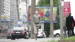 Shy brunette Russian chick in khaki pants pisses in public on spy cam video--_short_preview.mp4