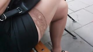 The nice stocking flashes in public and sexy high heel shoes--_short_preview.mp4