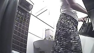 Blonde curvy stranger girl pulls up her skirt and pisses in the public toilet room--_short_preview.mp4