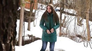 Auburn haired Russian teen pisses on the snow in the backyard--_short_preview.mp4