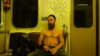 Bearded Russian guy rubs his big dick on the subway--_short_preview.mp4