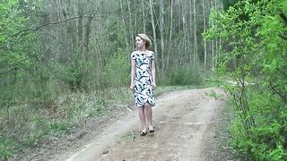 Sweet blonde Russian cutie in the woods flashes pussy and pisses--_short_preview.mp4
