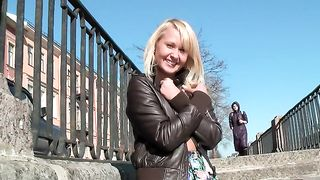 Blonde sweet sexy Russian girl flashes her small breasts in public--_short_preview.mp4