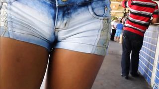 Lovely lass has her juicy twat imprinted on her jeans shorts--_short_preview.mp4