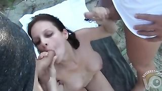 Beauty gets double penetrated on a towel outdoors--_short_preview.mp4