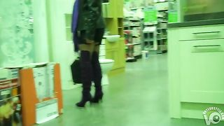 Sexy stocking tops flashed in the store--_short_preview.mp4