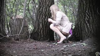 Classy Russian beauty pulls up her skirt and urinates in the woods--_short_preview.mp4