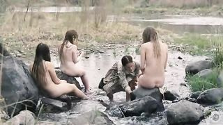 Naked mermaids in the river get their feet washed--_short_preview.mp4