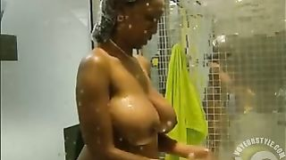 Black amateur with big breasts in voyeur shower scene--_short_preview.mp4