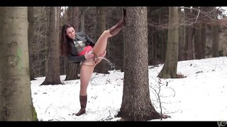 Sweetie pees up a tree in the snow-clad forest--_short_preview.mp4