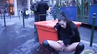 Public pissing princess in thigh high leather boots--_short_preview.mp4