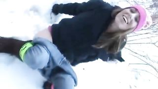 Brunette cutie goes pee in the snow--_short_preview.mp4