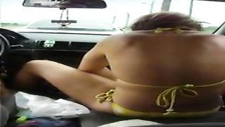 Lovely hitchhiker in the yellow bikini plays with her tampon--_short_preview.mp4