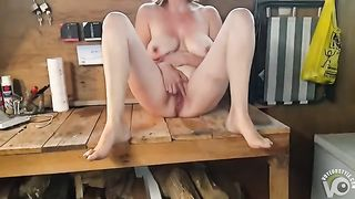 My slutty wife makes her wet pussy spray pee in my workshop--_short_preview.mp4