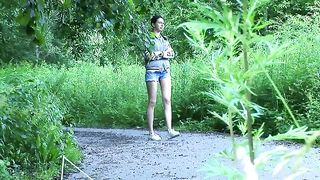 Slender fresh amateur Russian girl pulls down her denim shorts and black panties to piss--_short_preview.mp4