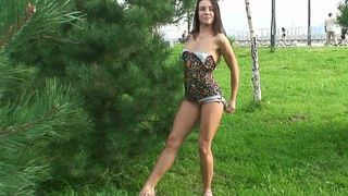 Fabulous redhead Russian college girl flashes her goodies behind the tree--_short_preview.mp4