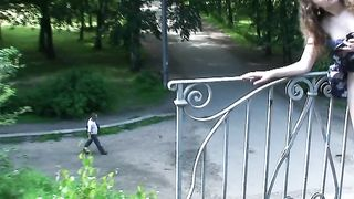 Redhead pale skin Russian teen on the bridge shows her goodies--_short_preview.mp4