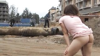 Fabulous Russian teen in pink dress flashes her goodies at the construction site--_short_preview.mp4