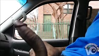 Stroking his large ebony dick in the car--_short_preview.mp4