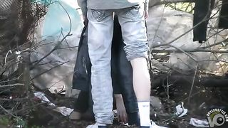 Caring boyfriend covers up girl peeing in the shrub--_short_preview.mp4