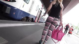 Delicious blonde with big ass walks around in tight leggings--_short_preview.mp4