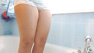 Curvy girl wetting her white dotted panties in the bathtub--_short_preview.mp4