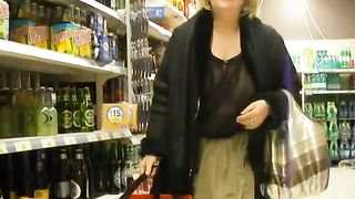 Flashing wife in the liquor store has pierced nipples--_short_preview.mp4