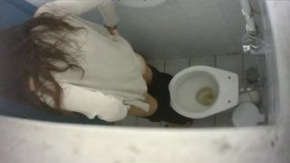 Long-haired brunette with a bubble butt takes a quick pee in the college restroom--_short_preview.mp4