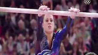 Skintight shiny leotard on a female gymnast--_short_preview.mp4