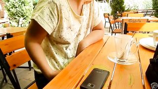 Braless wife demonstrates her breasts at a restaurant--_short_preview.mp4