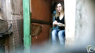 Outhouse urinating footage with a nice shaved pussy view--_short_preview.mp4