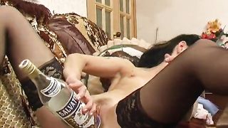 Lovely brunette Valeria shows her shaved dimple on the couch--_short_preview.mp4