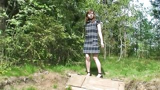 Redhead Russian amateur girl in the forest squats and pisses--_short_preview.mp4