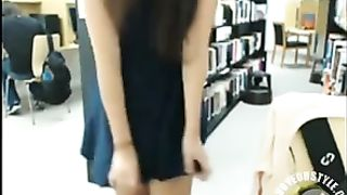 Cute camgirl flashes her sweet ass in the library--_short_preview.mp4