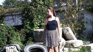 Coward young lady pees on an outdoor walk--_short_preview.mp4