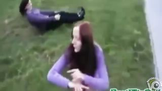 Redhead coed performs a somersault in a short skirt--_short_preview.mp4