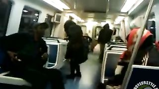 Homeless black woman pisses on the train and soaks the floor--_short_preview.mp4