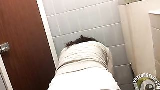 Curly hair beauty in a cardigan goes pee--_short_preview.mp4