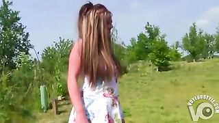 Hooker in her Sunday best banged by two guys outdoors--_short_preview.mp4