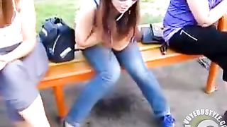 Naughty Russian girl pees through her jeans on public bench--_short_preview.mp4