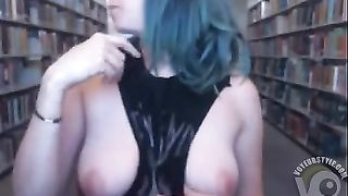 Funny babe in a tank top flashes tits in the library--_short_preview.mp4