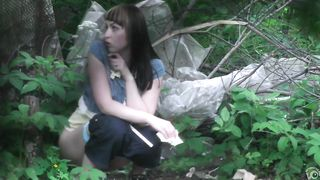 Desperate brunette gets recorded relieving herself in the woods--_short_preview.mp4