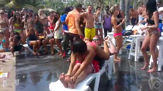 Wild girls pool party with