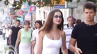 Scantily clad women in the city on a spring day--_short_preview.mp4